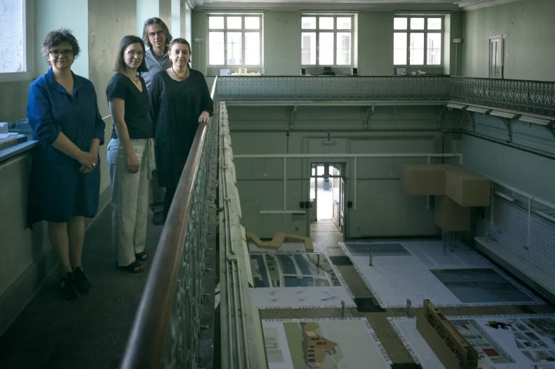 Bibliotheekmedewerkers Architectuur : Mieken, Els, Rik en Maryse